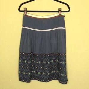 Anthropologie (Snak) Blue Embroidered Skirt Size 4